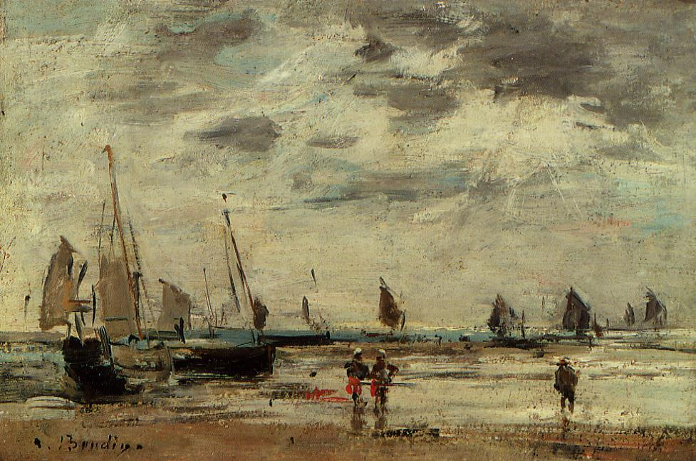 Berck Jetty and Sailing Boats at Low Tide 1885-1890 | Eugene Louis Boudin | Oil Painting
