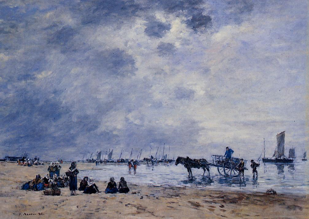 Berck the Arrival of the Fishing Boats 1882 | Eugene Louis Boudin | Oil Painting