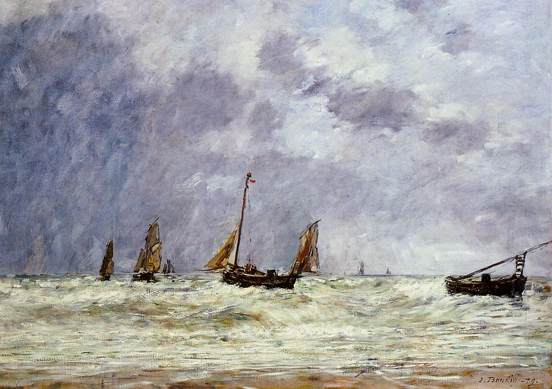 Berck the Departure of the Boats 1879 | Eugene Louis Boudin | Oil Painting