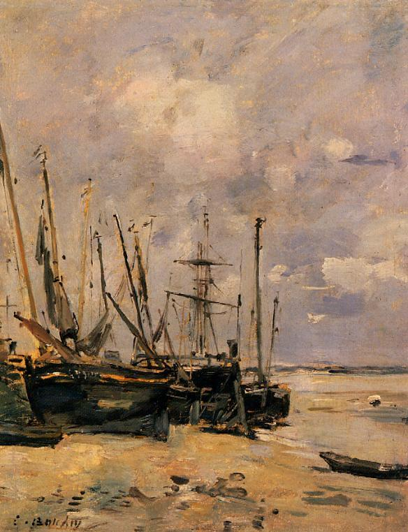 Boats at the Beach at Low Tide 1888-1895 | Eugene Louis Boudin | Oil Painting
