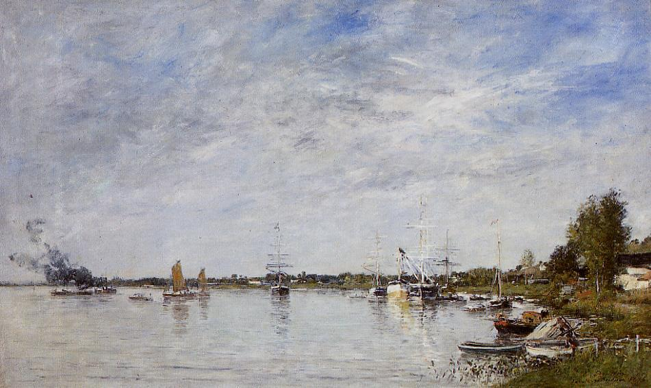 Boat Construction Docks at Lormont 1876 | Eugene Louis Boudin | Oil Painting