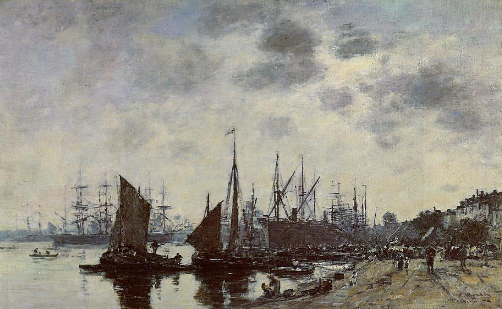 Bordeaux Bacalan View from the Quay 1874 | Eugene Louis Boudin | Oil Painting
