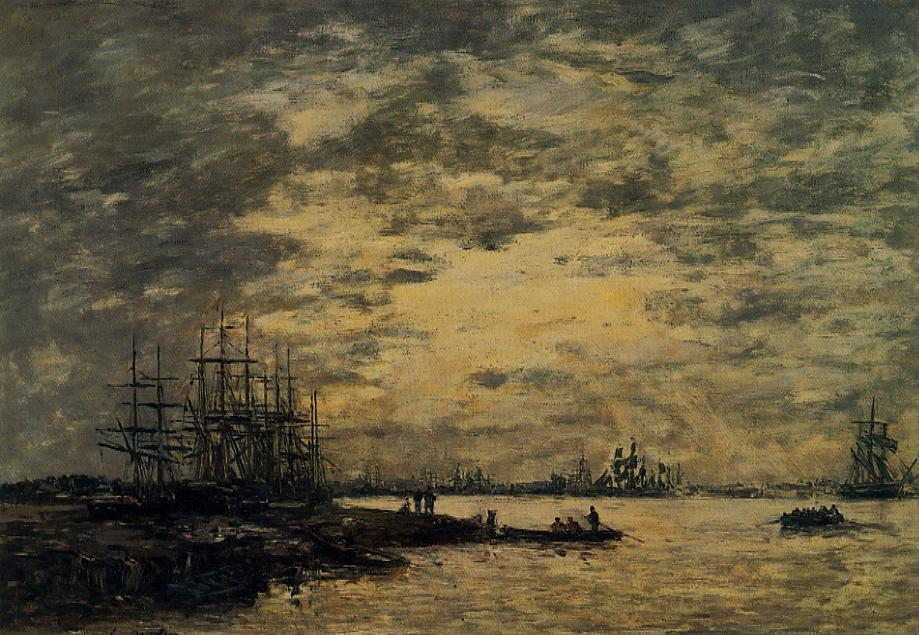 Bordeaux Boats on the Garonne 1874-1876 | Eugene Louis Boudin | Oil Painting