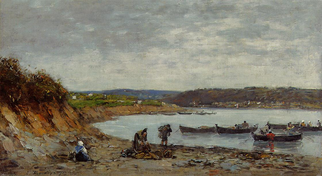 Brest Fishing Boats 1871 | Eugene Louis Boudin | Oil Painting
