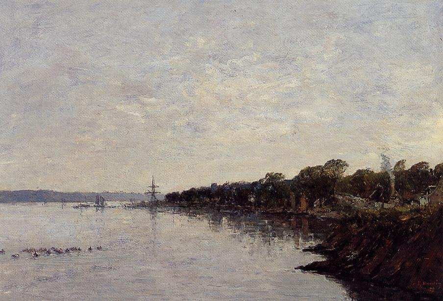 Brest the Banks of the Harbor 1870 | Eugene Louis Boudin | Oil Painting