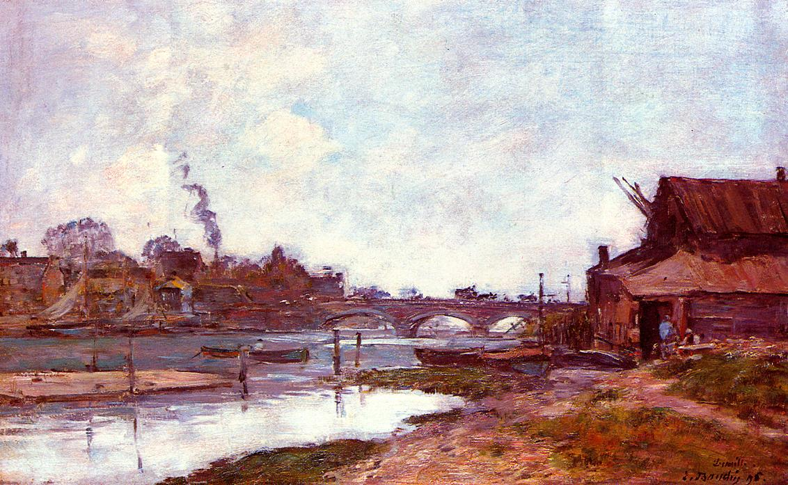 Bridge on the River Touques at Deauville 1895 | Eugene Louis Boudin | Oil Painting