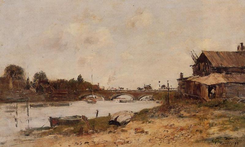Bridge over the Touques at Deauville 1895 | Eugene Louis Boudin | Oil Painting