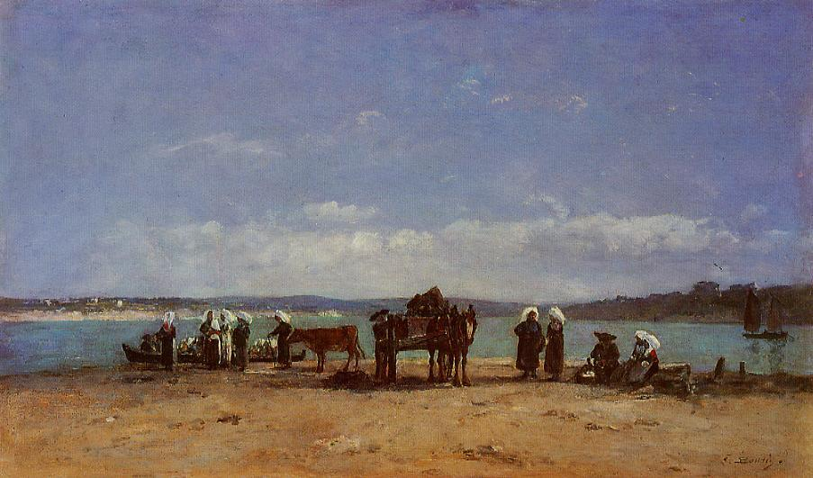 Brittany Fishermen's Wives on the Shore 1870-1873 | Eugene Louis Boudin | Oil Painting