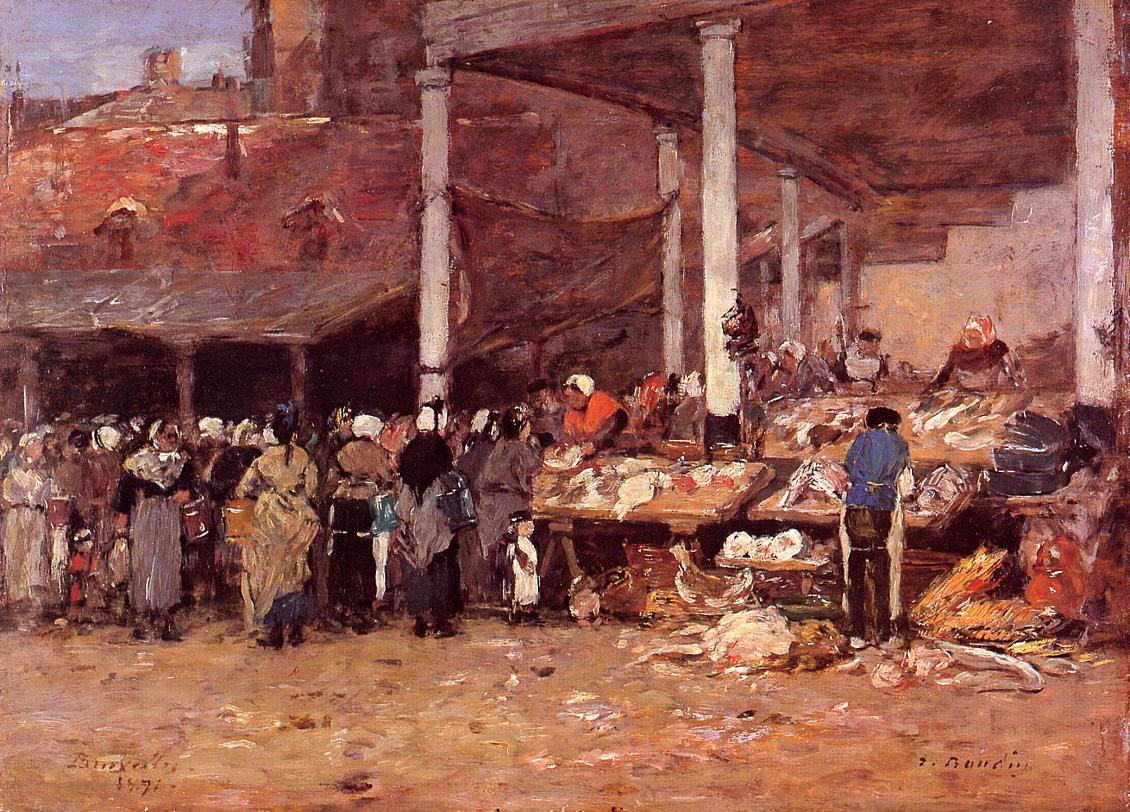 Brussels - the Old Fish Market 1871 | Eugene Louis Boudin | Oil Painting