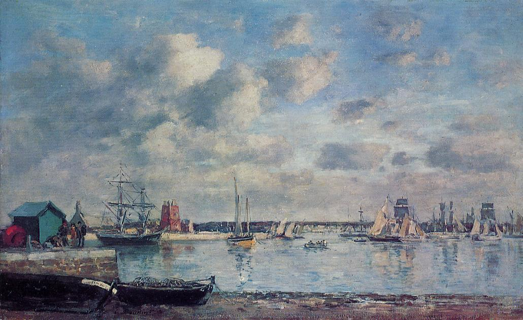 Camaret Boats in the Harbor 1871-1873 | Eugene Louis Boudin | Oil Painting
