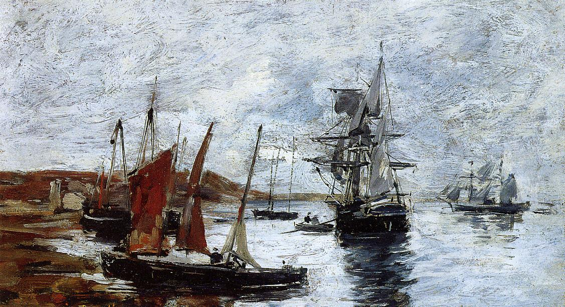Camaret Boats on the Shore 1873 | Eugene Louis Boudin | Oil Painting