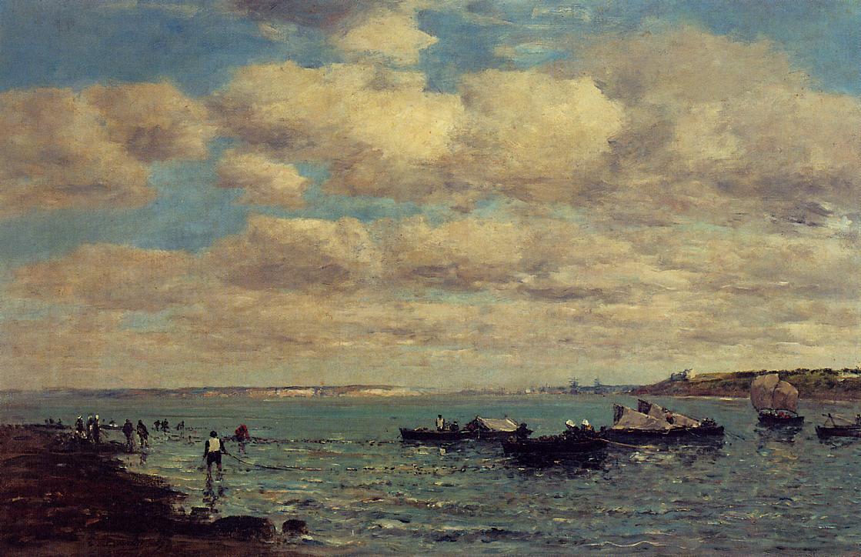 Camaret Fishermen and Boats1 1869 | Eugene Louis Boudin | Oil Painting