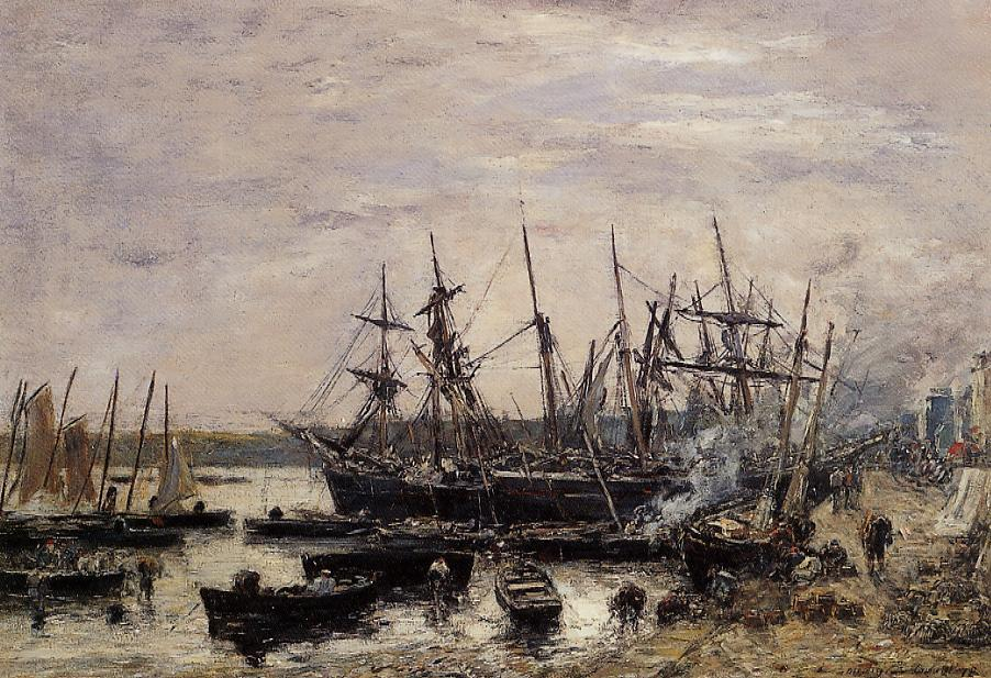 Camaret Fishing Boats at Dock 1878 | Eugene Louis Boudin | Oil Painting