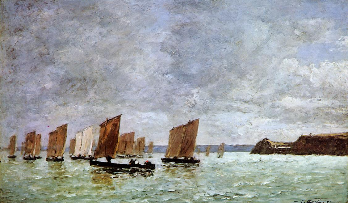 Camaret Fishing Boats off the Shore 1872 | Eugene Louis Boudin | Oil Painting