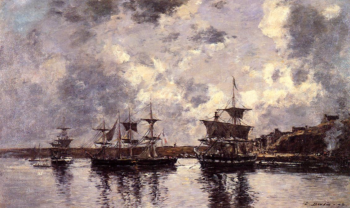 Camaret Three Masters Anchored in the Harbor 1873 | Eugene Louis Boudin | Oil Painting
