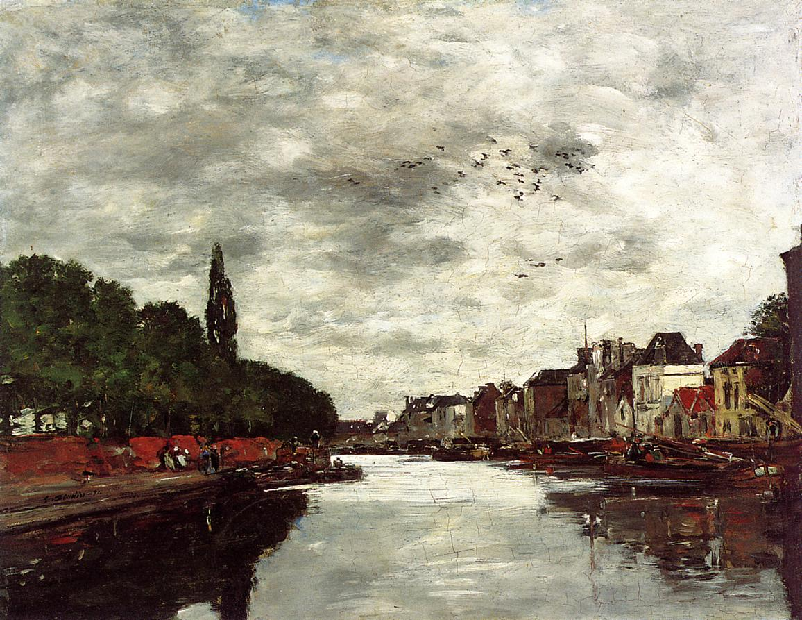 Canal near Brussels 1871 | Eugene Louis Boudin | Oil Painting