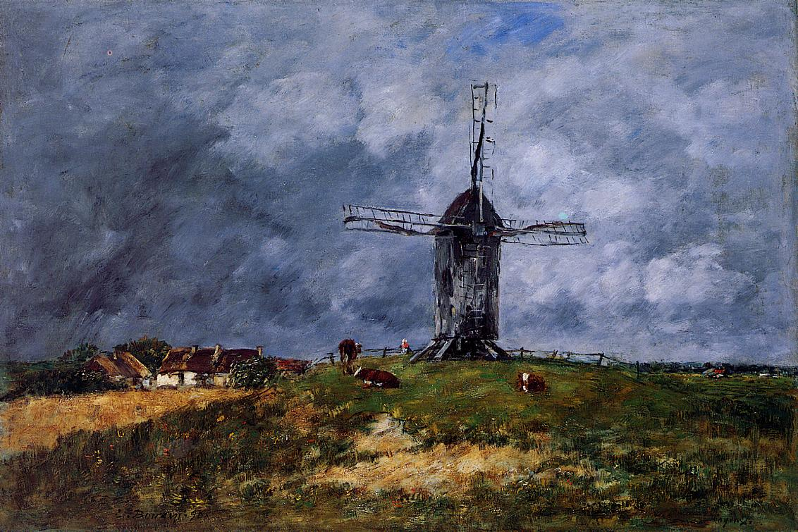 Cayeux Windmill in the Countryside Morning 1890 | Eugene Louis Boudin | Oil Painting