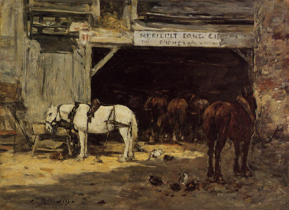 Cour et Ecurie d'un Loueur 1885-1890 | Eugene Louis Boudin | Oil Painting