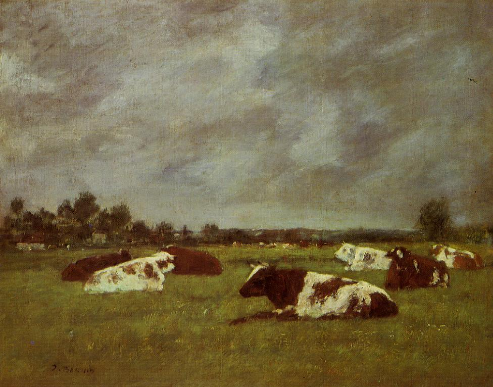 Cows in a Meadow Morning Effect 1880-1885 | Eugene Louis Boudin | Oil Painting