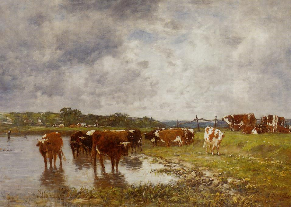 Cows in a Meadow on the Banks of the Toques 1880 | Eugene Louis Boudin | Oil Painting