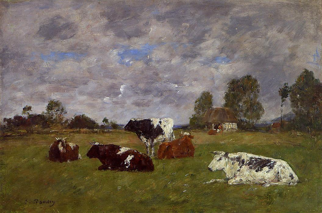 Cows in a Pasture 1880-1885 | Eugene Louis Boudin | Oil Painting
