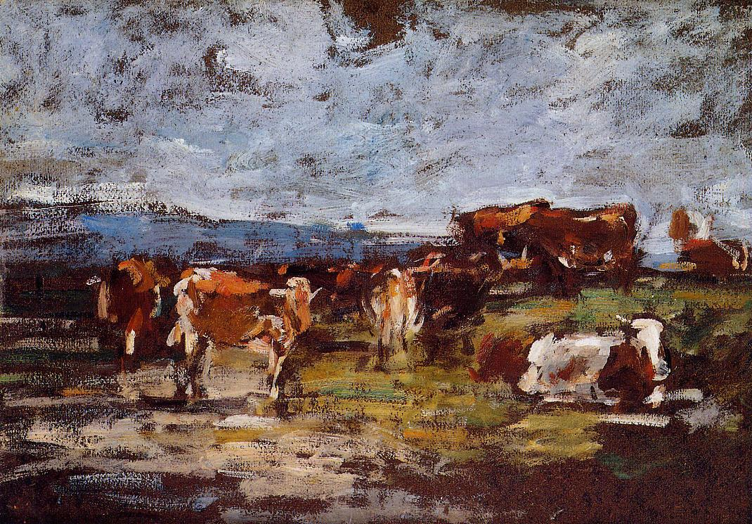 Cows in Pasture 1880-1885 | Eugene Louis Boudin | Oil Painting