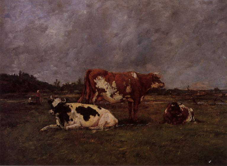 Cows in Pasture | Eugene Louis Boudin | Oil Painting