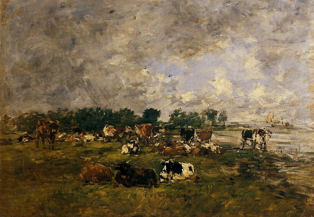 Cows in the Fields 1892-1896 | Eugene Louis Boudin | Oil Painting