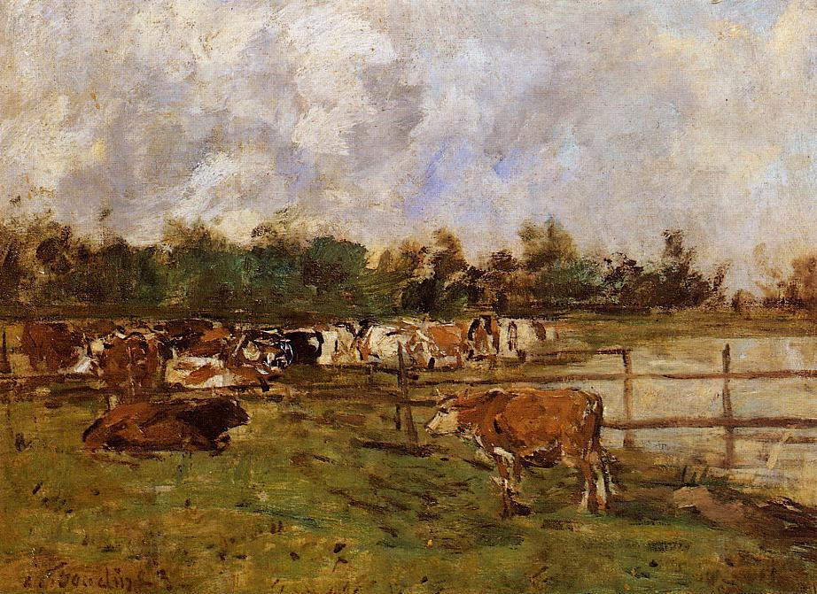 Cows in the Meadow 1888-1895 | Eugene Louis Boudin | Oil Painting