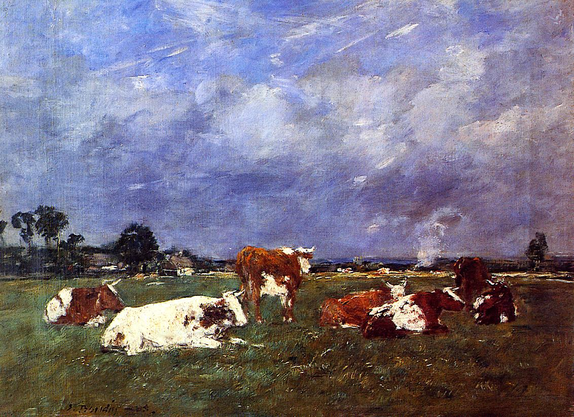 Cows in the Pasture 1888 | Eugene Louis Boudin | Oil Painting
