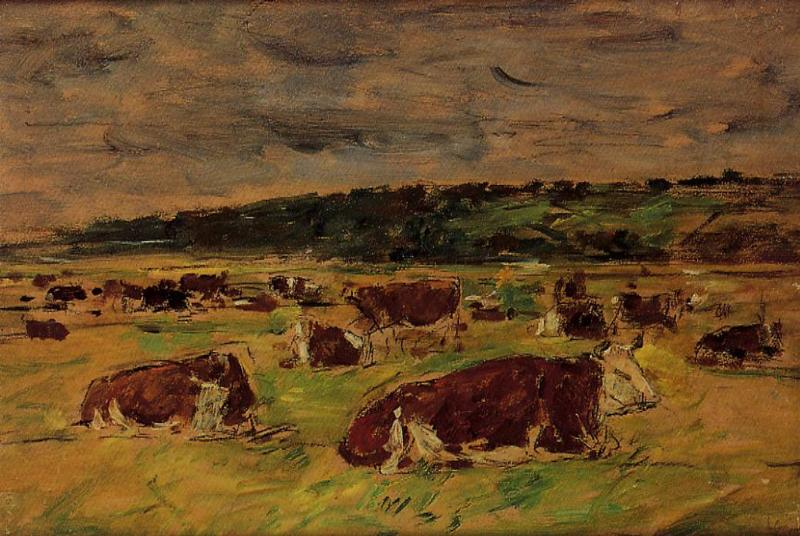 Cows in the Pasture | Eugene Louis Boudin | Oil Painting