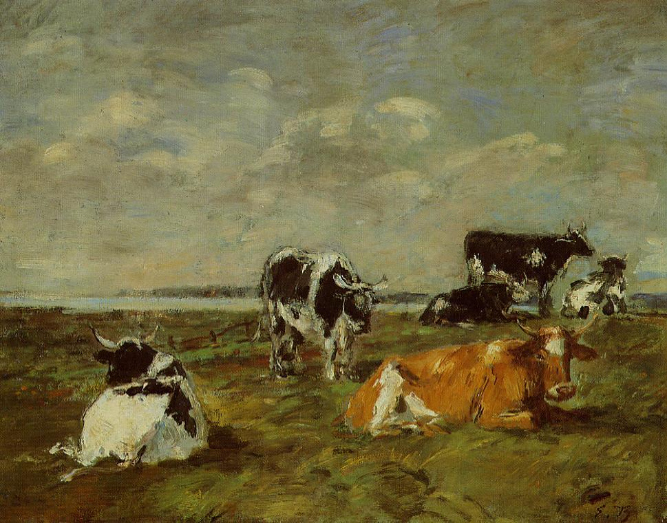 Cows near the Sea 1892-1896 | Eugene Louis Boudin | Oil Painting