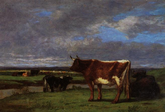 Cows near the Toques | Eugene Louis Boudin | Oil Painting