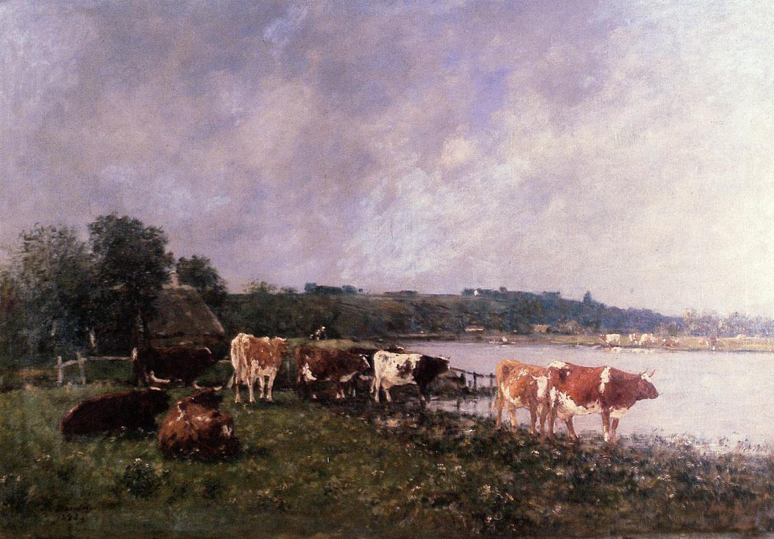 Cows on the Banks of the Touques 1880 | Eugene Louis Boudin | Oil Painting