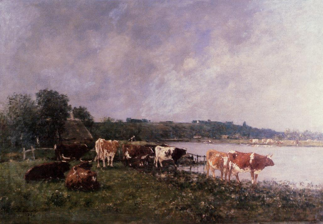 Cows on the Riverbanks of the Touques 1880 | Eugene Louis Boudin | Oil Painting