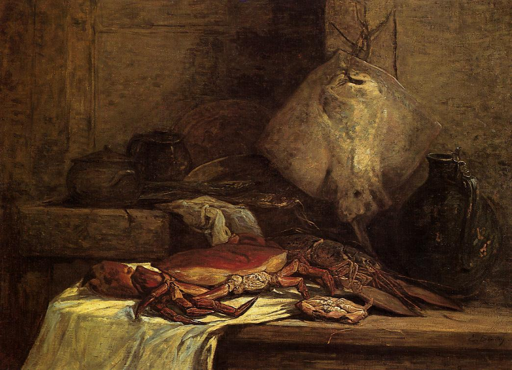 Crab Lobster and Fish (aka Still Life with Skate) 1860 | Eugene Louis Boudin | Oil Painting