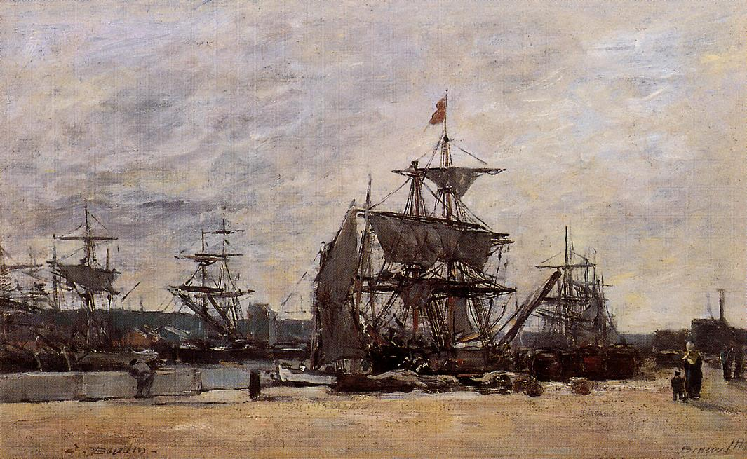 Deauville Docked Boats 1874 | Eugene Louis Boudin | Oil Painting