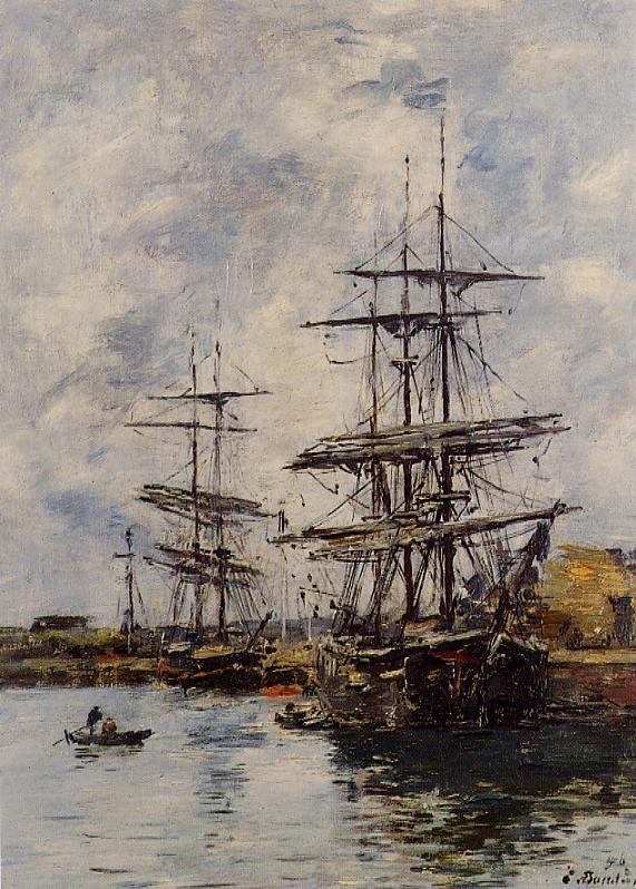 Deauville Ships at Dock 1896 | Eugene Louis Boudin | Oil Painting