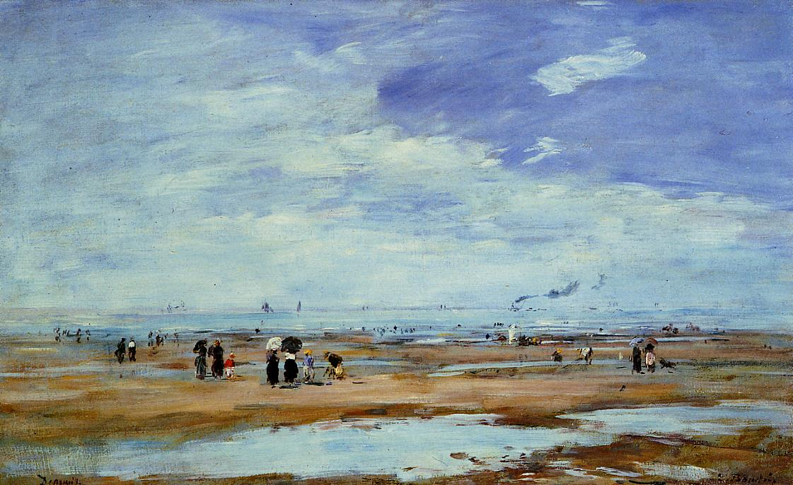Deauville the Beach Low Tide 1885-1890 | Eugene Louis Boudin | Oil Painting