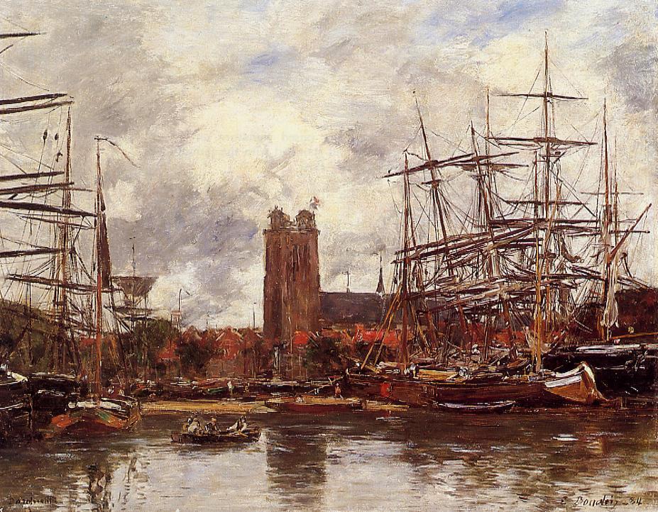 Dordrecht View of the Port 1884 | Eugene Louis Boudin | Oil Painting