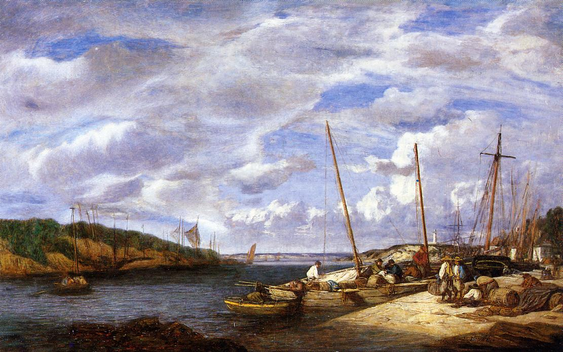 Douarnenez Fishing Boats at Dockside 1855 | Eugene Louis Boudin | Oil Painting