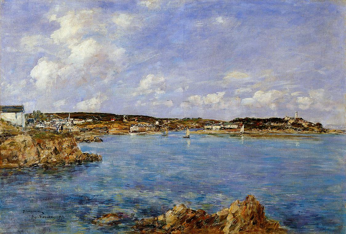 Douarnenez the Bay View of I'Ile Tristan 1897 | Eugene Louis Boudin | Oil Painting