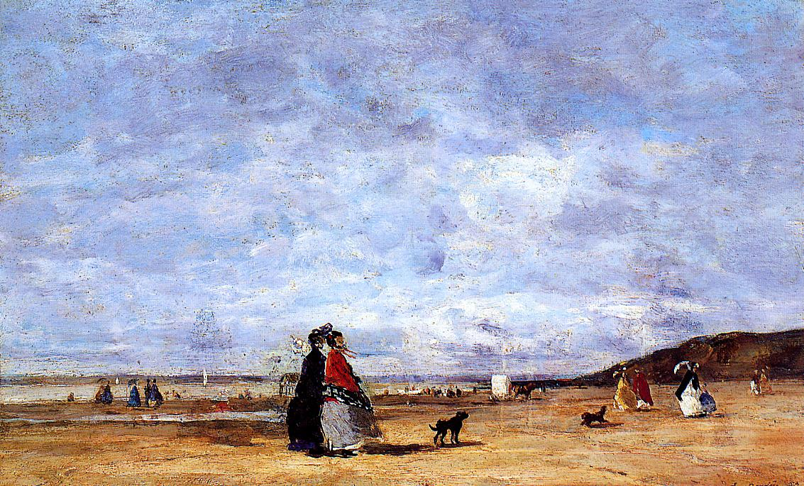Elegant Women on the Beach 1863 | Eugene Louis Boudin | Oil Painting