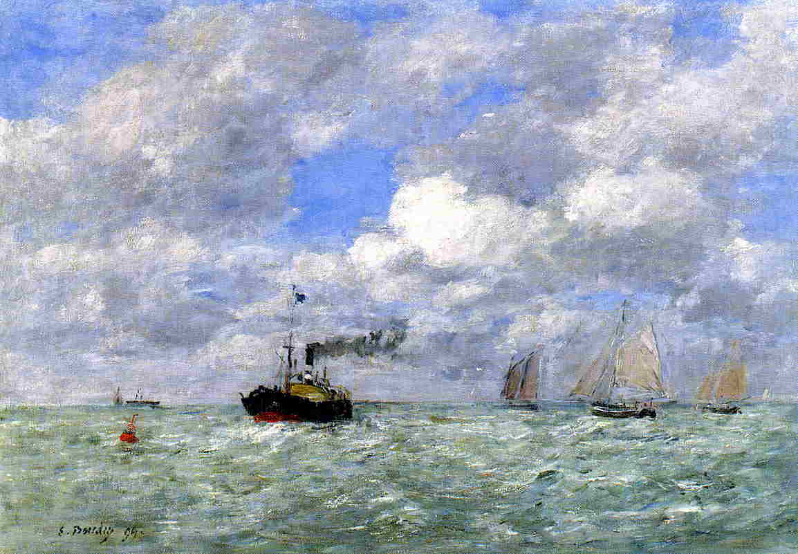 English Coal Ship in View of Trouville 1894 | Eugene Louis Boudin | Oil Painting