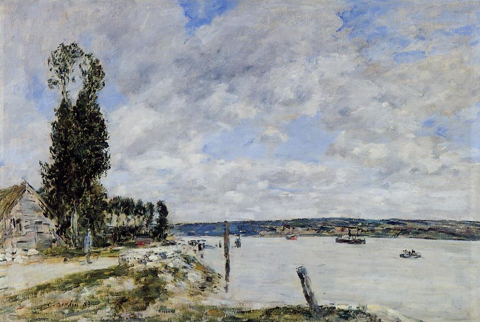 Environs de Quillebeuf Le Bac de la Mailleraye 1893 | Eugene Louis Boudin | Oil Painting