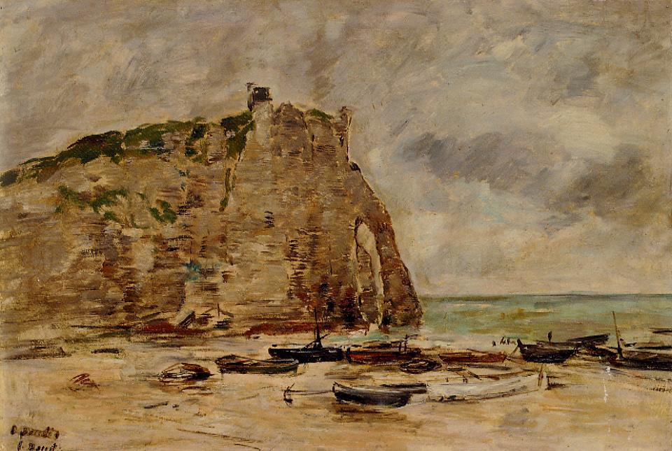 Eteretat Beached Boats and the Cliff of Aval 1892 | Eugene Louis Boudin | Oil Painting