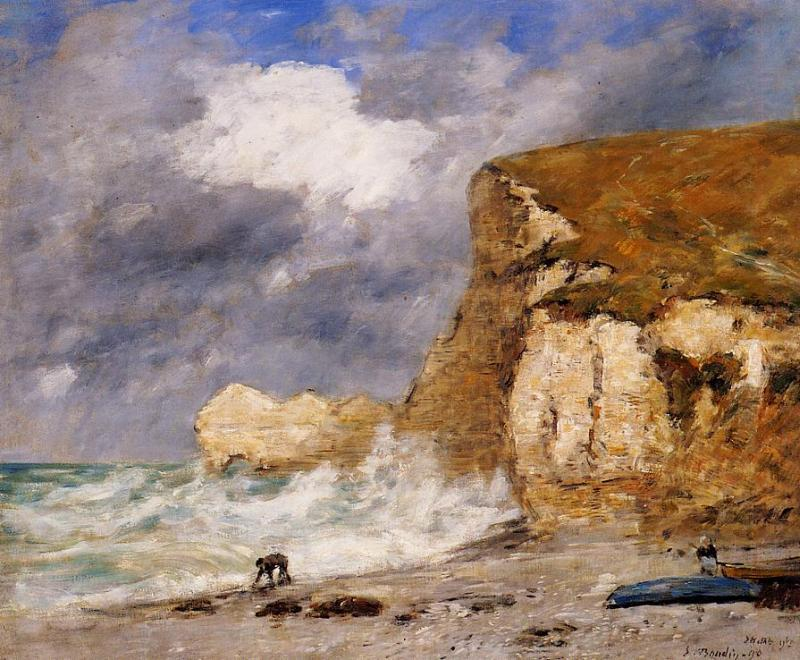 Etratat the Amont Cliff in November 1890 | Eugene Louis Boudin | Oil Painting