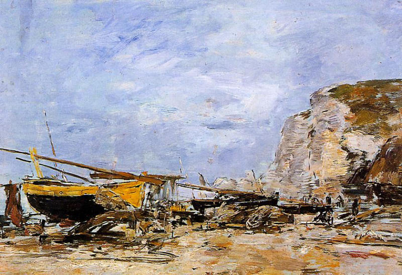 Etretat boats Stranded on the Beach 1890-1894 | Eugene Louis Boudin | Oil Painting