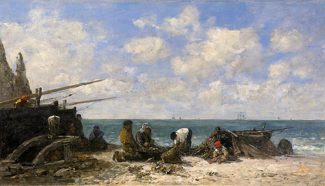 Etretat Fishermen on the Beach 1872-1873 | Eugene Louis Boudin | Oil Painting