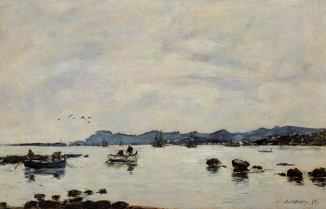 Golfe-Juan the Bay and the Mountains of Esterel 1893 | Eugene Louis Boudin | Oil Painting